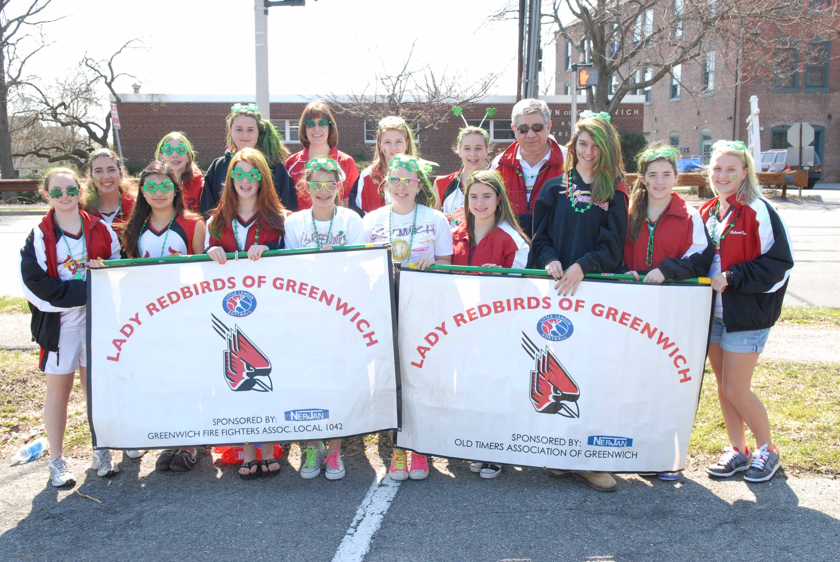 Greenwich LL softball at St. Patrick's Day parade